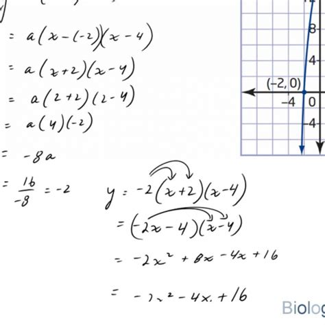 how to write a quadratic equation in standard form when a graph is given