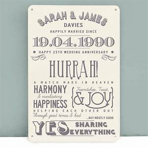personalised silver wedding anniversary metal print by With 25th wedding anniversary gift ideas for couples
