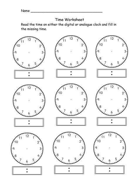 blank clock worksheet telling time kiddo shelter