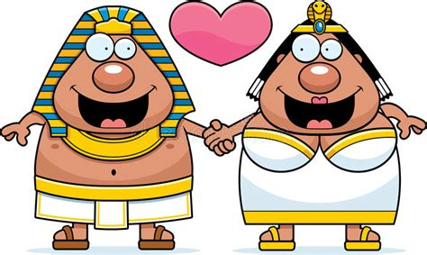 Cartoon Pharaoh And Queen Love Stock Vector