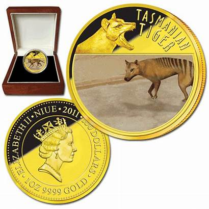 Coins Downies Tasmanian Tiger Niue Gold Last