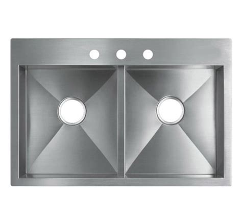 top mount kitchen sinks stainless steel 33 quot top mount drop in stainless steel kitchen sink hte3322 9485