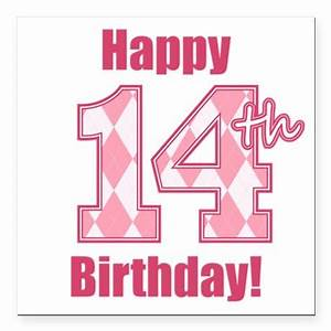 Happy 14th Birthday - Pink Argyle Square Car Magne | Cars ...  14th