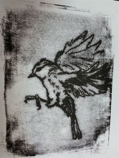Bird Monoprint By Barnaby Darling #bird #flight #wings #print #ink #monoprint #monotype