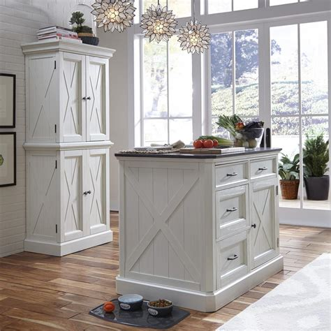 home styles seaside lodge hand rubbed white kitchen island  quartz stone top