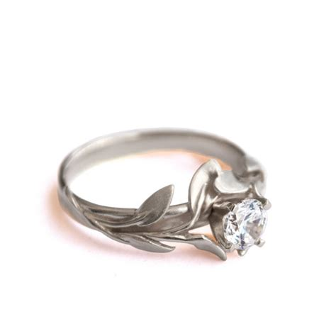 leaves engagement ring no 4 18k white gold and diamond engagement ring engagement ring leaf