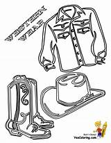 Coloring Cowboy Pages Western Shirt Saddle Boots Boys Colouring Horses Indians Wear Yescoloring Hats sketch template