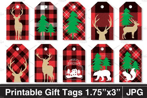 rustic plaid christmas gift tags stationery templates