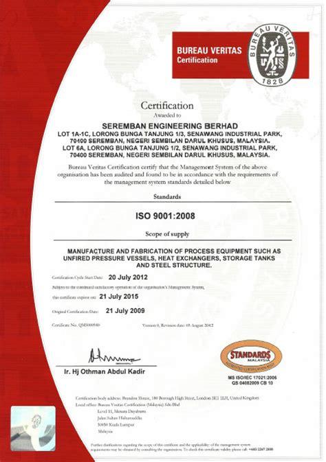 bureau certification bureau veritas certification seremban engineering berhad