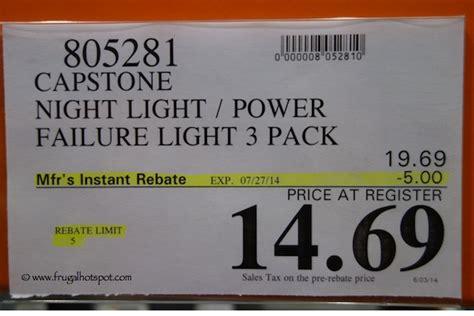 costco deal capstone 2 in 1 night light power failure