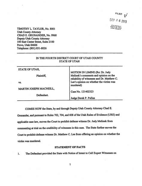 Motion In Limine Template by State S Motion In Limine To Limit Testimony Of Defense