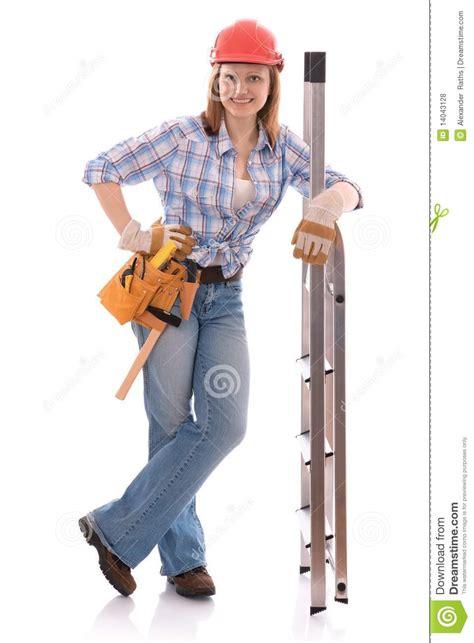 carpenter woman stock photo image  professional belt