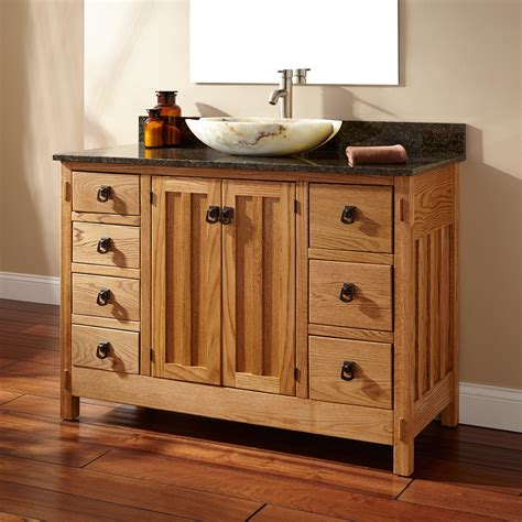 "48"" Mission Hardwood 7drawer Vessel Sink Vanity"