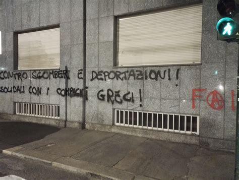Consolato Greco In Italia torino scritte al consolato greco e a rifondazione
