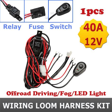 Wiring Harness Relay Switch Kit For Led Work Lights Drl