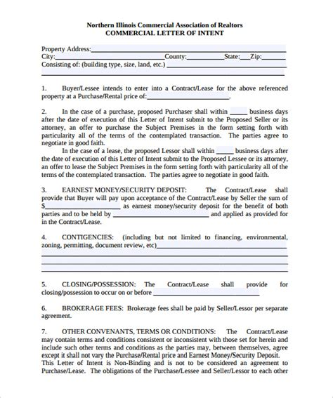 letter  intent templates  sample  format
