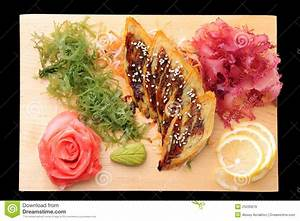 Sashimi Tamago On Rectangular Board Royalty Free Stock ...