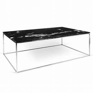 temahome gleam black marble chrome rectangle coffee With marble and chrome coffee table