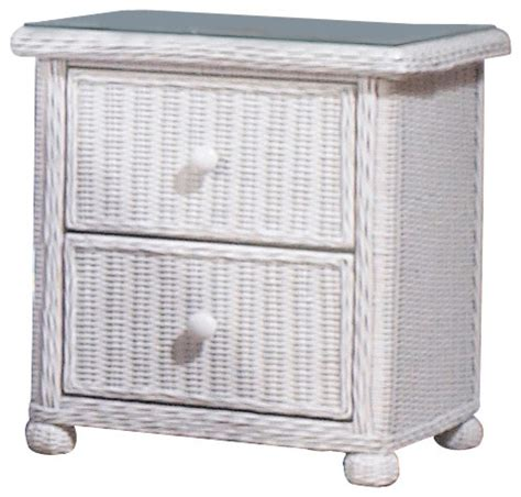Wicker Nightstand White by Wicker 2 Drawer Nightstand Elana Tropical Furniture