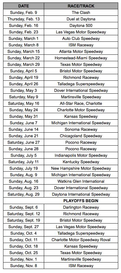 nascar releases cup schedule locale championship race ky