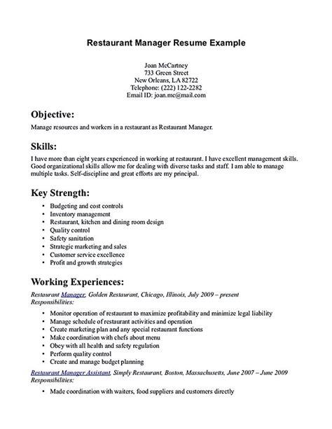 Exle Restaurant Resume by Resume For Restaurant Manager Restaurant Manager Resume
