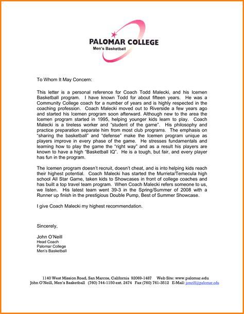 letter  recommendation   coach letter signature