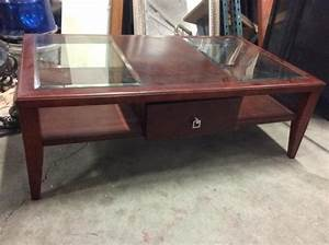 a modern cherry wood glass top coffee table w single drawer With cherry wood coffee table with glass top