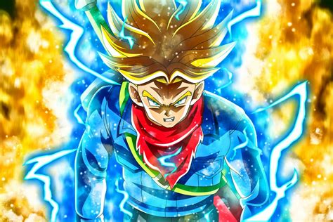 anime dragon ball super mirai trunks dbs super saiyan rage