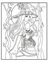 Coloring Pages Fantasy Wiccan Witch Adults Adult Pagan Colouring Printable Drawing Halloween Cassia Witches Dark Fairy Steampunk Aceo Kit Getdrawings sketch template