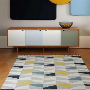 tapis design type kilim tisse main gris jaune et bleu With tapis bleu et jaune