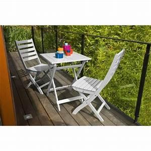 Table De Balcon : salon de jardin 2 personnes bois blanc table balcon 60 x 60 cm plantes et jardins ~ Teatrodelosmanantiales.com Idées de Décoration