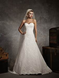 Sweetheart strapless lace a line wedding dresscherry marry for A line lace wedding dresses