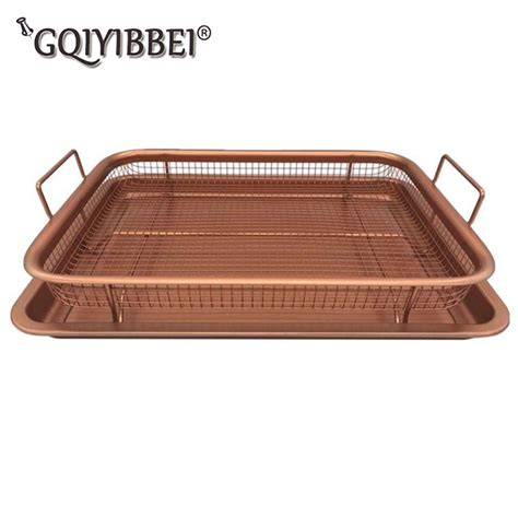 fryer air basket tray oven mesh copper cook crispy strainers colanders coating durable reinforced