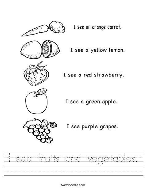 fruits  vegetables worksheet twisty noodle