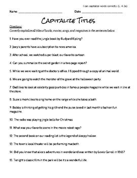 capitalize titles worksheet and answer key by to fourth and beyond