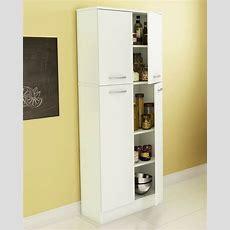 Food Pantry Cabinet White Doors Tall Storage Kitchen