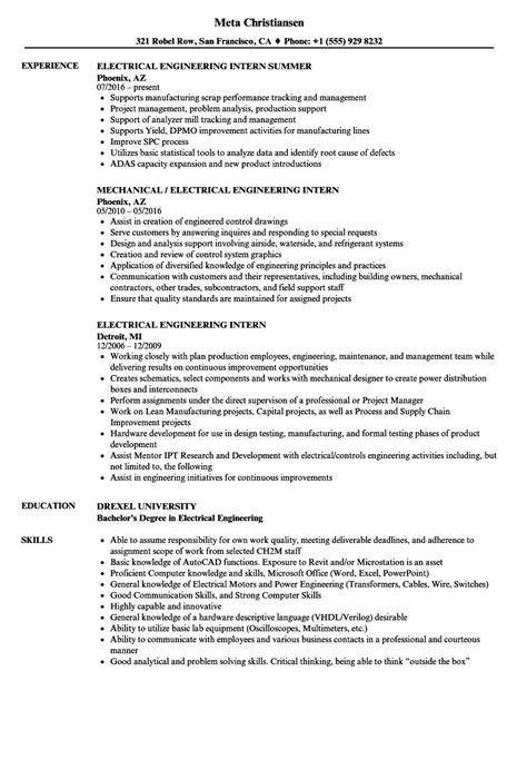 engineering internship resume resume for study