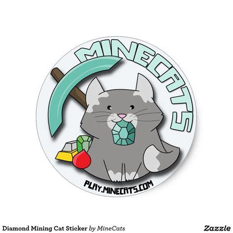 mining cat sticker zazzle cat stickers