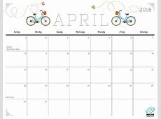 April 2018 Calendar Cute calendar yearly printable