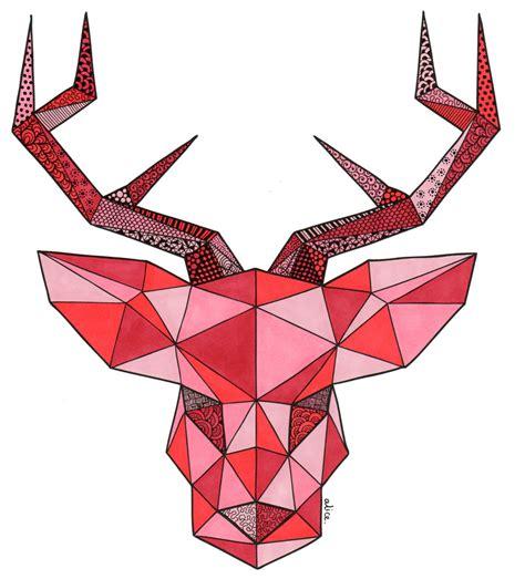 page de coloriage cerf geometrique alice gerfault
