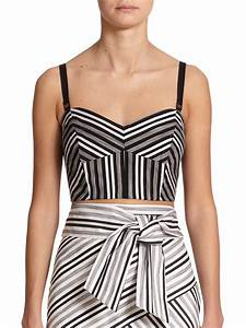 Milly | Black Striped Bustier Cropped Top | Lyst