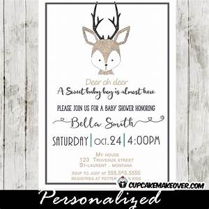 Little Deer Baby Shower Invitation, Hand Drawn