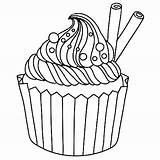 Cupcake Coloring Muffin Pages Cupcakes Drawing Coloriage Blueberry Banana Split Cup Template Cake Ice Drawings Printable Cream Goods Adult Baked sketch template