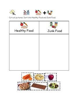 preschool healthy  unhealthy food worksheet