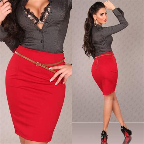 sous de bureau en cuir jupe crayon femme tendance avec ceinture cathy couleur