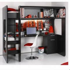 lit mezzanine ado avec bureau et rangement mot clé place décorer