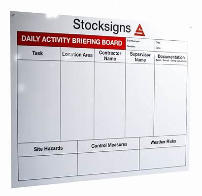 Board Activity Daily Briefing Tasks Safety Signs