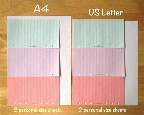 a4 vs letter filofax letter size and paper size on 20353