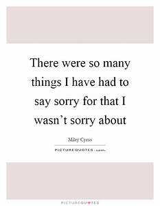 There were so many things I have had to say sorry for that ...