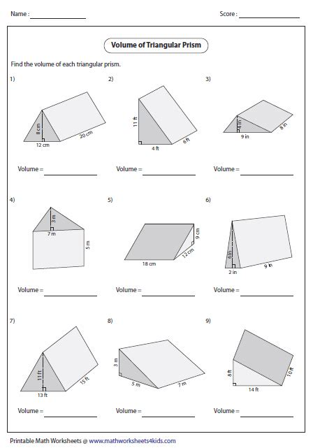 volume of triangular prisms geometry volume worksheets